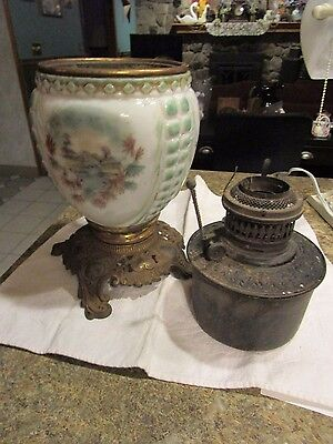 """Antique ceramic and brass lamp base with insert - nature scene 13.5"""" tall - LUD"""