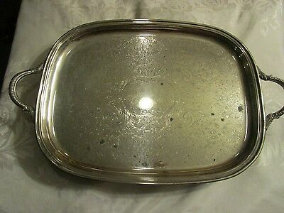 """Towle Silverplate Vintage Footed Tray with handles 14"""" x 22"""" - BARLOT"""