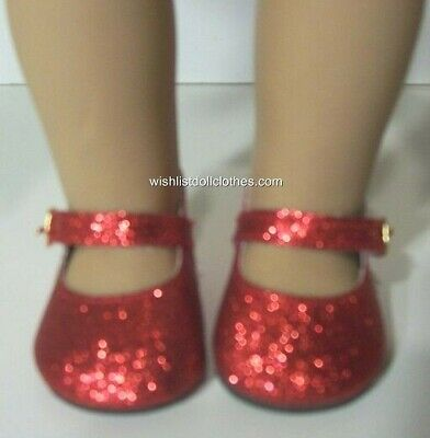 """RED SPARKLE GLITTER DOLL SHOES  fits 18"""" American Girl Doll, Ruby Red Slippers"""