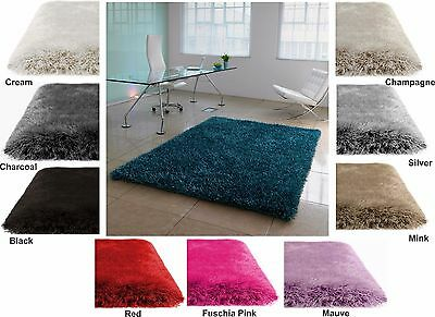 Super Soft Thick Plain Opulence Shaggy Rug Non Shed Deep Pile Small XL XX Large