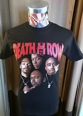 New Death Row Records Red Logo Tupac Dr. Dre Snoop Dogg Suge Faces Black T Shirt