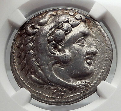 ALEXANDER III the GREAT 327BC Silver Tetradrachm Ancient Greek Coin NGC i60095