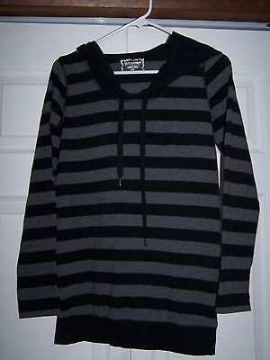Motherhood Maternity Small Hooded Long Sleeved Striped Top