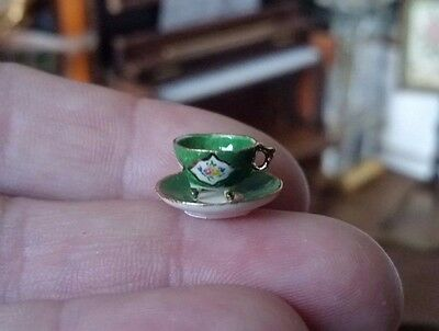 Miniature Dollhouse Artisan Teresa Welch China Closet Footed Tea Cup Saucer 1:12