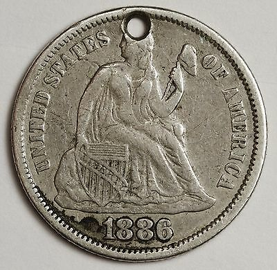 1886 Seated Liberty Dime.  Love Token.  V.F.  103236