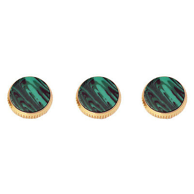 Set of 3 Pieces Gold Plated Malachite Finger Buttons for Trumpet Repairing