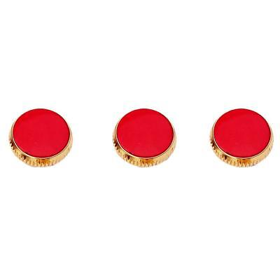 Set of 3 Pieces Gold Plated Red Stone Finger Buttons for Trumpet Repairing