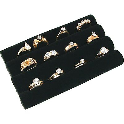 3 Continuous Slot Black Velvet Ring Display Tray Insert