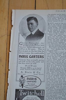Dead Ball Era Philadelphia Pitcher Grover Alexander in 1916 Paris Garters Ad