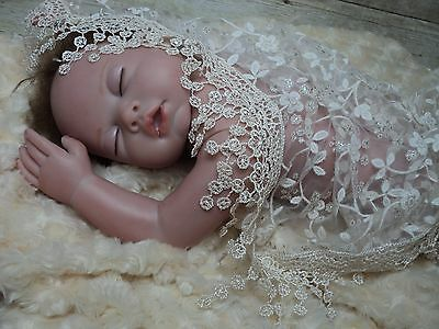 Baby girl ivory lace wrap & headband set photo prop infant newborn Baptism new