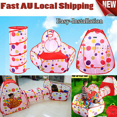 Pop Up Children Toddlers Kids Play Tent Tunnel Cubby Indoor Playhouse For  Fun H