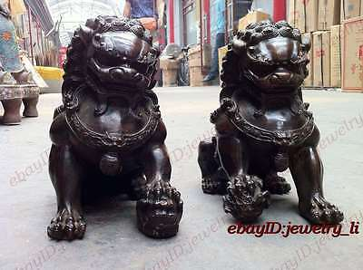 Folk Collection Door fengshui Bronze Gilt Guardion Lion Foo Fu Dogs Old Statue 2
