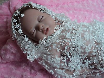 Baby girl white lace wrap & headband photo prop ready to ship infant newborn new
