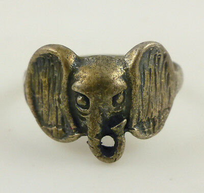 Sterling Silver Elephant Head Stamped Ring Sz 8.25