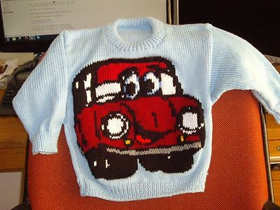 Red Car   Jumper  New Hand Knitted Size 4 100% Acrylic
