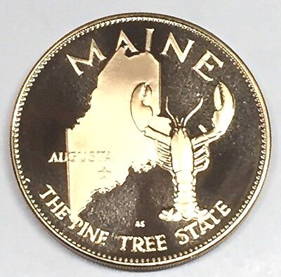 C2869   Franklin  Mint  Bronze    Medal,  State Of   Maine