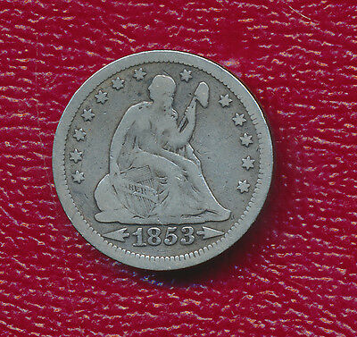 1853 Seated Liberty Silver Quarter **obverse Arrows-Reverse Rays** Free Shipping