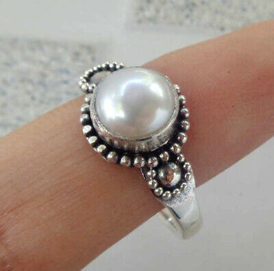 Mabe Pearl Solid Silver, 925 Balinese Design Ring 38133