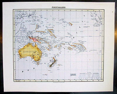 1850 Flemming Antique Map Australia, New Zealand & The Pacific