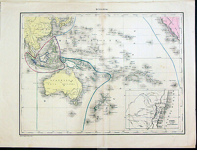 1842 Lapie Antique Map of Pacific Australia New Zealand