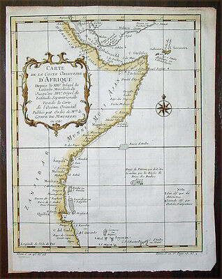 1740 Bellin Antique Map of The East Coast and Horn of Africa