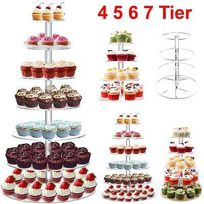 4/5/6/7/ Tier Clear Round Acrylic Cupcake Stand Wedding Party Birthday Display