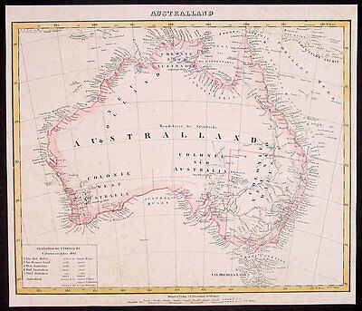 1841 Flemming Antique Map of Australia with Population