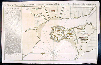 1760 Bowen Antqiue Map of Fort Gulf of Cutch in Gheria NW India, Home of Pirates