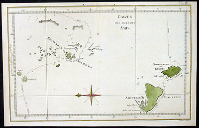 1780 Cook Benard Antique Map of Tongan Island South Sea