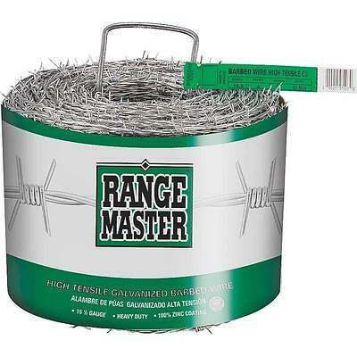 15.5Ga 4Pt Barb Wire, 1320' Long Roll DEACERO Barbed Wire 7203 Silver