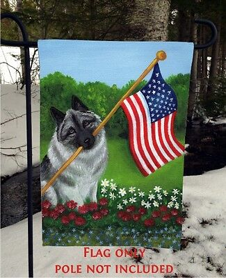 Norwegian Elkhound PROUD  AMERICAN 12 By 18 Garden flag no pole By Amy Bolin