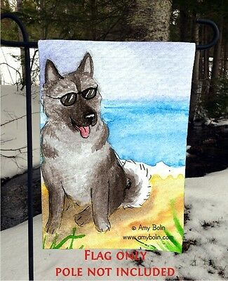 Norwegian Elkhound HELLO HOLLYWOOD 12 By 18 Garden flag no pole By Amy Bolin