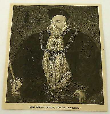 1881 magazine engraving ~ PORTRAIT of LORD ROBERT DUDLEY ~ Earl of Leicester