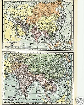 Hawaii Philippines Asia 1927 Map Lithograph C S Hammond Color Maps 2 sided