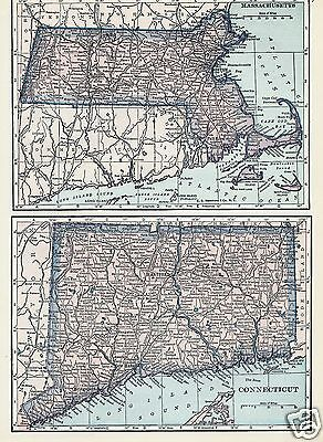 1927 Map New England States CT MA PA NY Lithograph 4 Maps by C S Hammond & Co
