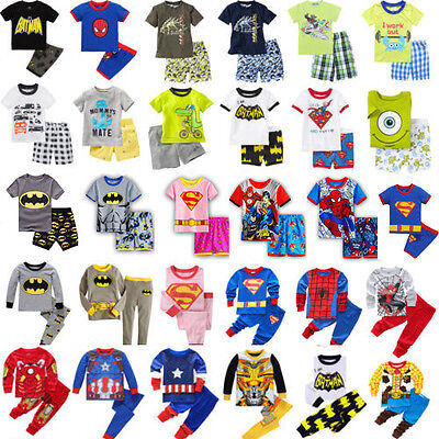 Kids Girls Boys Clothes Long/Short Sleeves Toddler Sleepwear Pj's Pyjamas Set