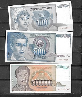 Yugoslavia 3 Different Used Banknote Paper Money Currency Note Lot Collection