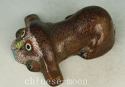 Fine Chinese Old Cloisonne Handmade Carved Dog Statue Figure