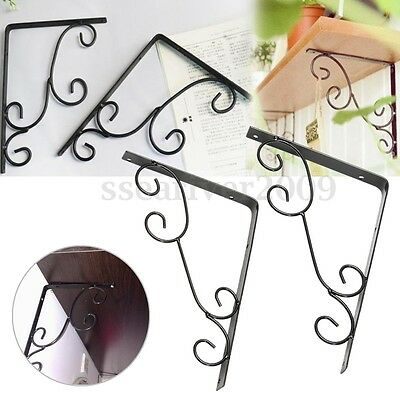 1 Pair Antique Floral Cast Iron Metal Decorative Shelf Brackets Wall Mounted