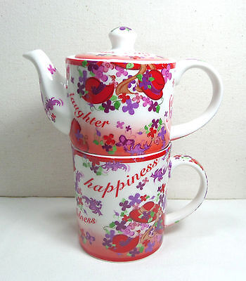 Cardew Designs Pink Chintz Small Teapot & Coffee Mug Cup 2004 Red Hat Society