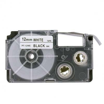 12mm x 8m Black on White High Quality Label Tape for Casio XR-12WE1 VAT included