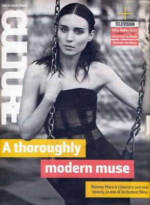 ROONEY MARA - Cover & Feature in Sunday Times CULTURE Magazine, Nov 2015