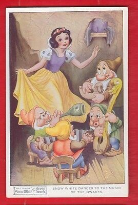 Disney, Snow White & 7 dwarfs, postcard- Snow White dances to the music No 4177