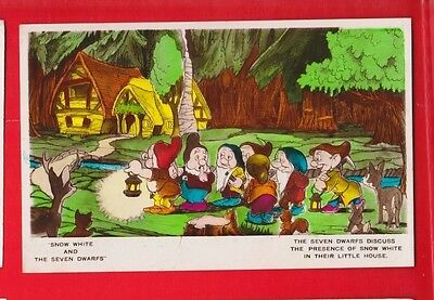 Disney, Snow White & 7 dwarfs, postcard- Seven dwarfs discuss...