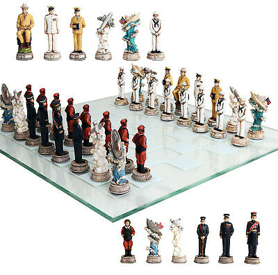 Atlantic Collectible World War 2 Themed Chess Set US vs Germany & Glass Board