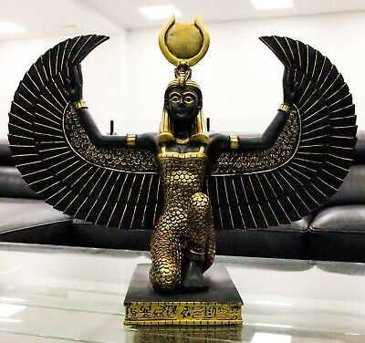 "Large Kneeling Winged Isis Statue 20""Long Egyptian Goddess Of Motherhood Deity"