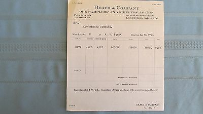 1923 Leadville Colorado Beach & Company Ore Samplers Shipping Certificate-Mines