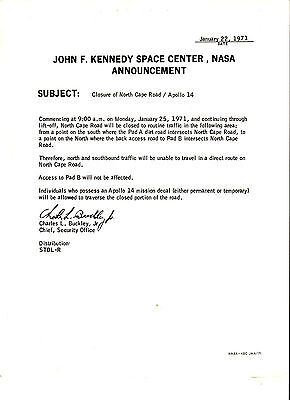 1971 Nasa Space Launch Apollo 14 John F Kennedy Space Center Road Announcement