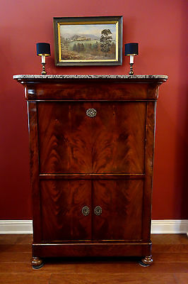 Antique French Mahogany Secretary Desk Abattant Marble Fall Front Regency