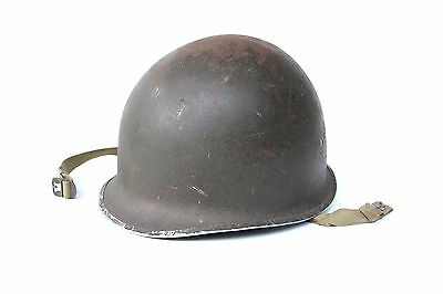 Original WW2 US Army Military M1 Fixed Bale Front Seam Helmet 649B BEAUTY